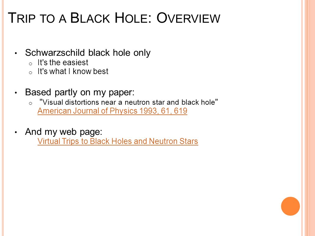 Trip to a Black Hole: Overview