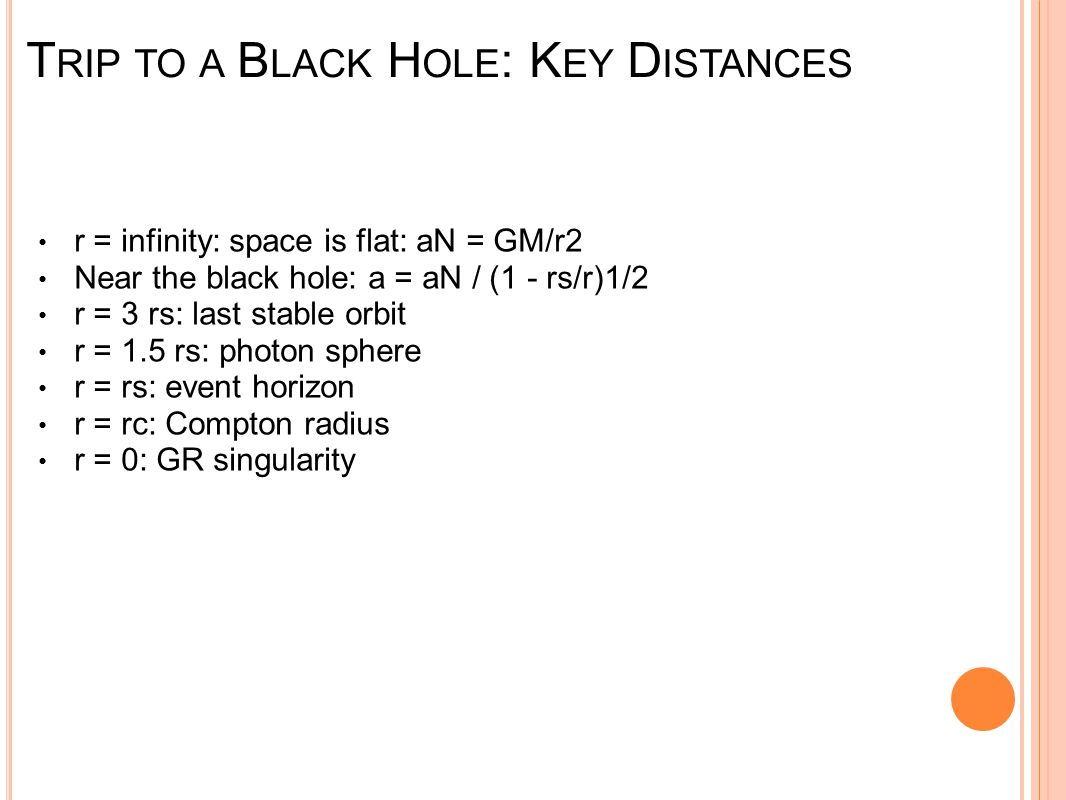 Trip to a Black Hole: Key Distances