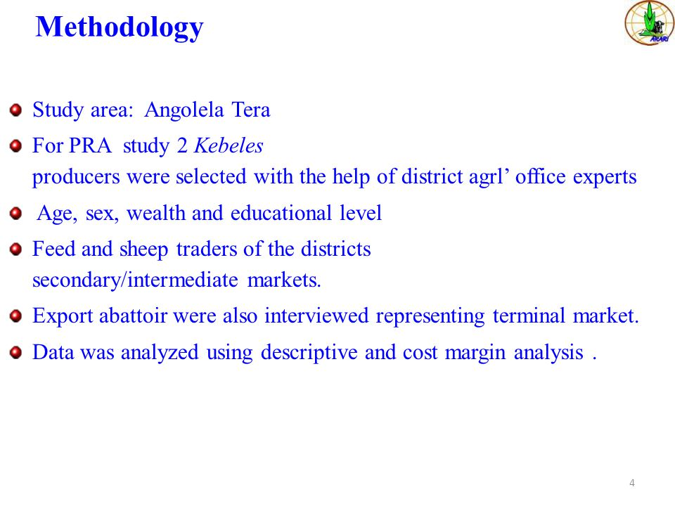 Methodology Study area: Angolela Tera districts 107 km away from Addis.