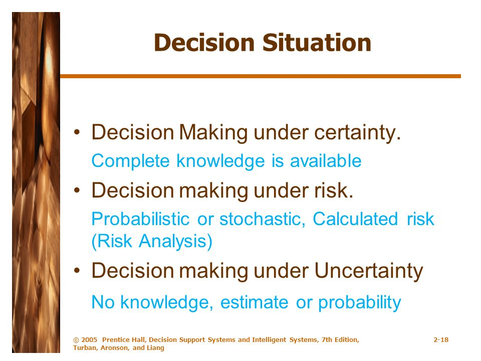 Decision Situation Decision Making under certainty.