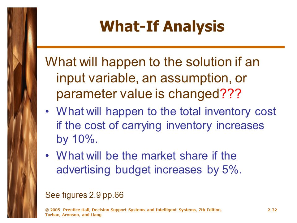 What-If Analysis What will happen to the solution if an input variable, an assumption, or parameter value is changed
