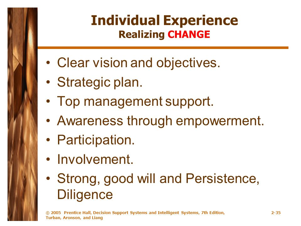Individual Experience Realizing CHANGE