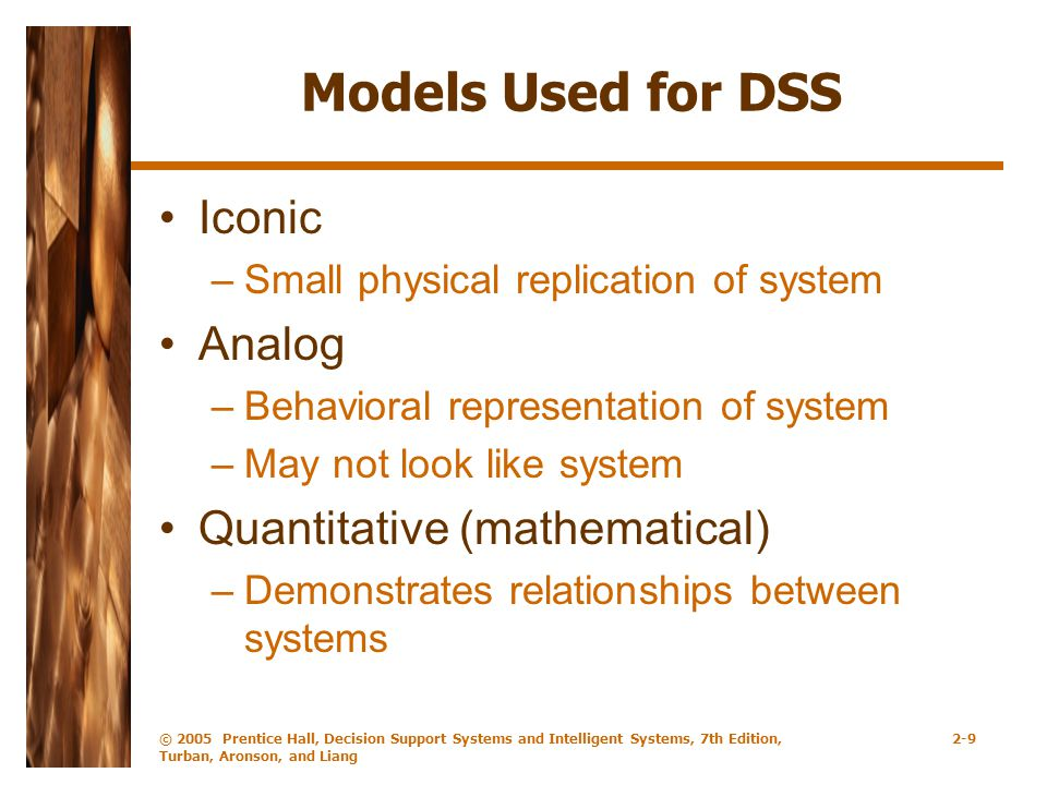 Models Used for DSS Iconic Analog Quantitative (mathematical)