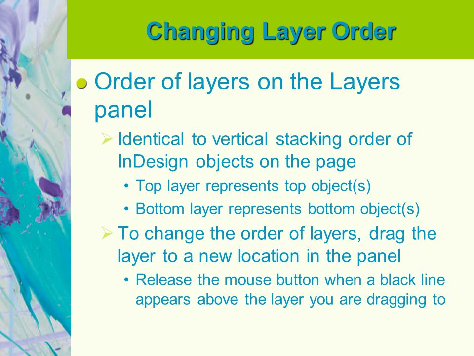 Order of layers on the Layers panel