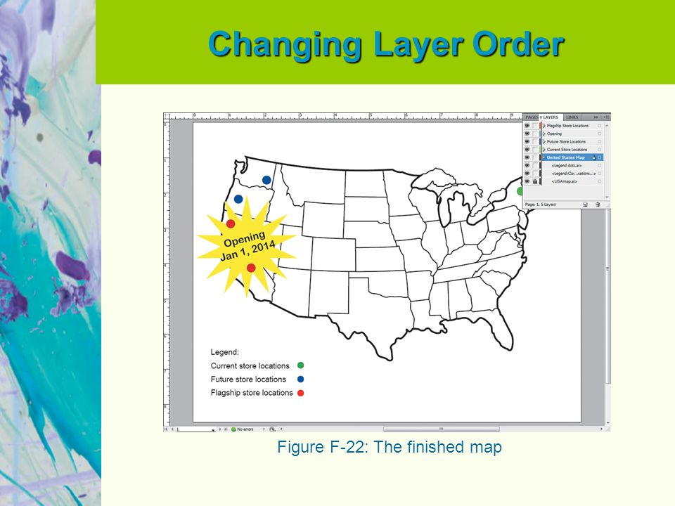 Changing Layer Order Figure F-22: The finished map