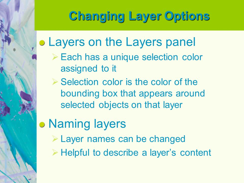 Changing Layer Options