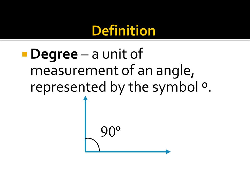 Definition Degree – a unit of measurement of an angle, represented by the symbol º. 90º