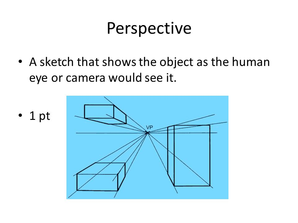 Perspective A sketch that shows the object as the human eye or camera would see it. 1 pt