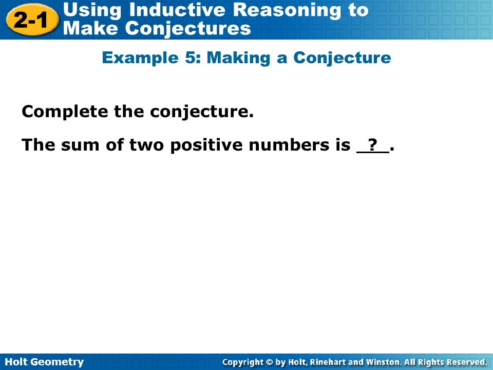 Example 5: Making a Conjecture