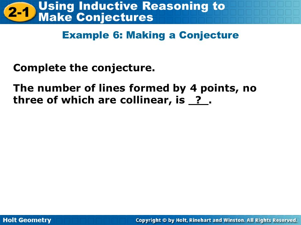 Example 6: Making a Conjecture