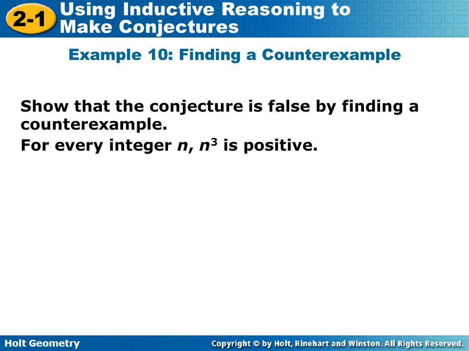 Example 10: Finding a Counterexample