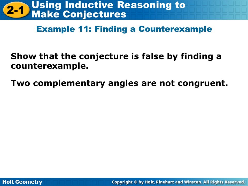 Example 11: Finding a Counterexample
