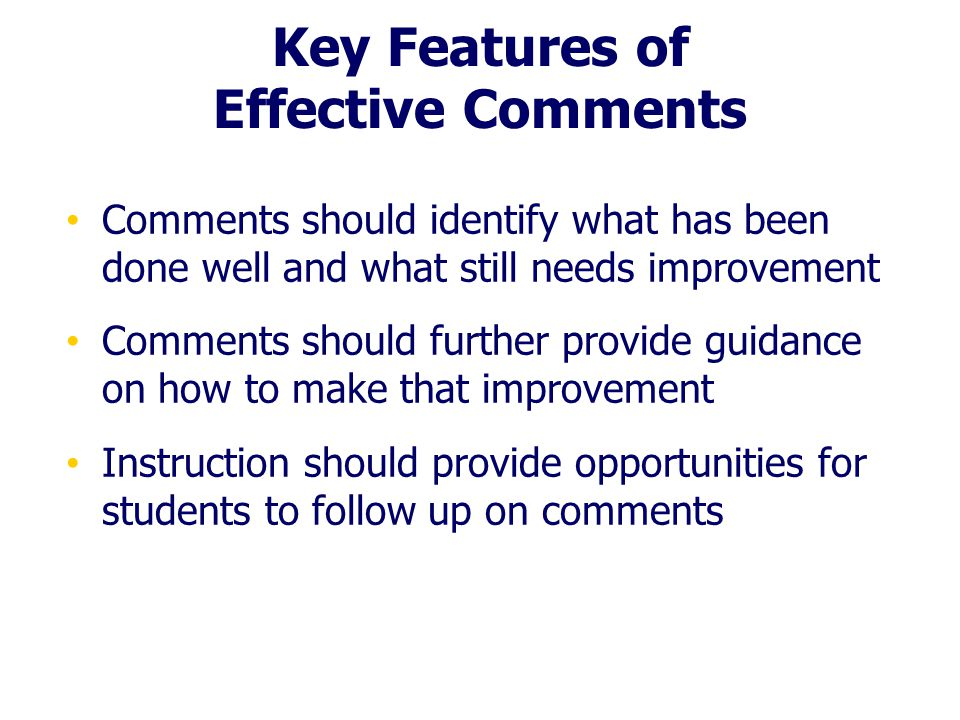 Key Features of Effective Comments