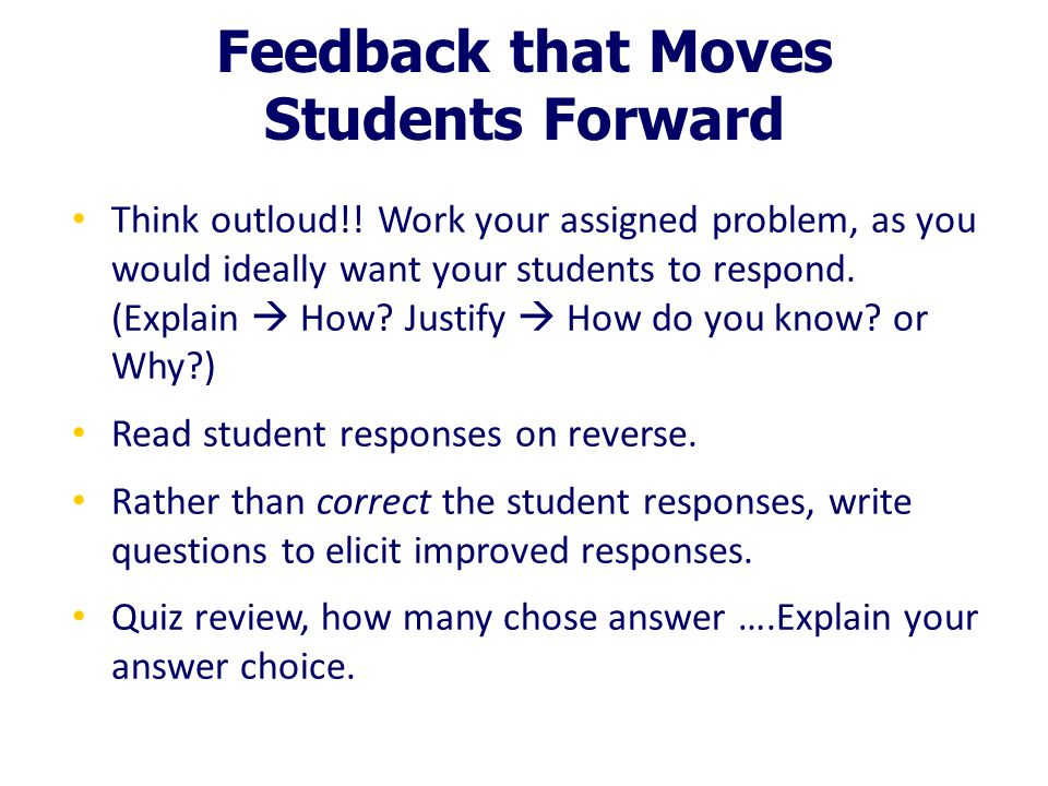 Feedback that Moves Students Forward