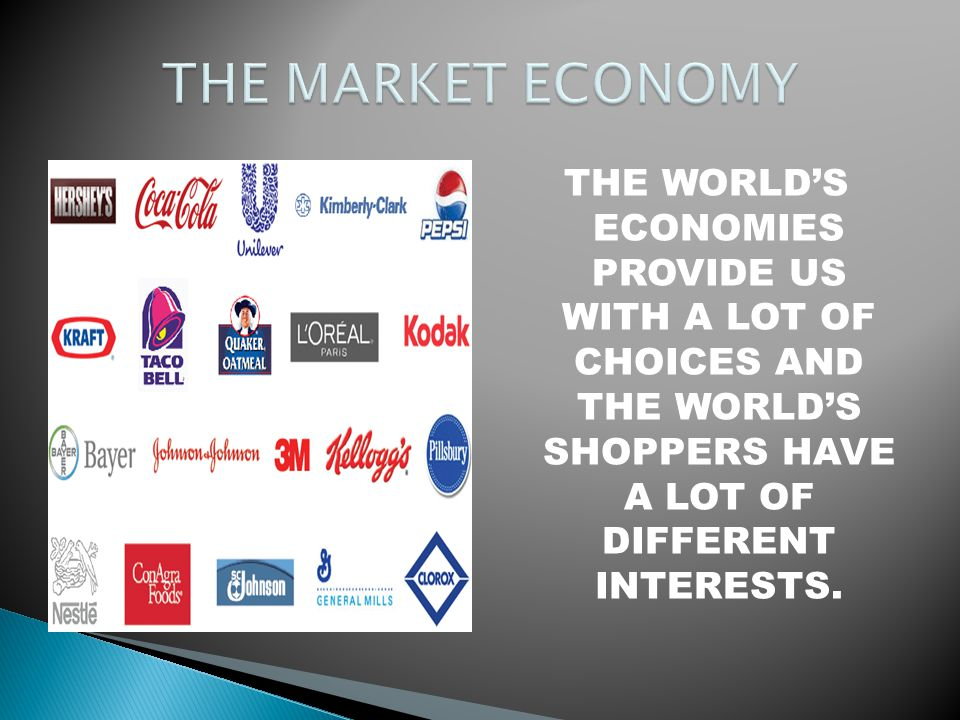 THE MARKET ECONOMY THE WORLD'S ECONOMIES PROVIDE US WITH A LOT OF CHOICES AND THE WORLD'S SHOPPERS HAVE A LOT OF DIFFERENT INTERESTS.