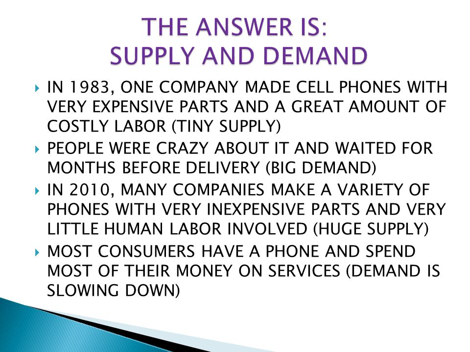 THE ANSWER IS: SUPPLY AND DEMAND