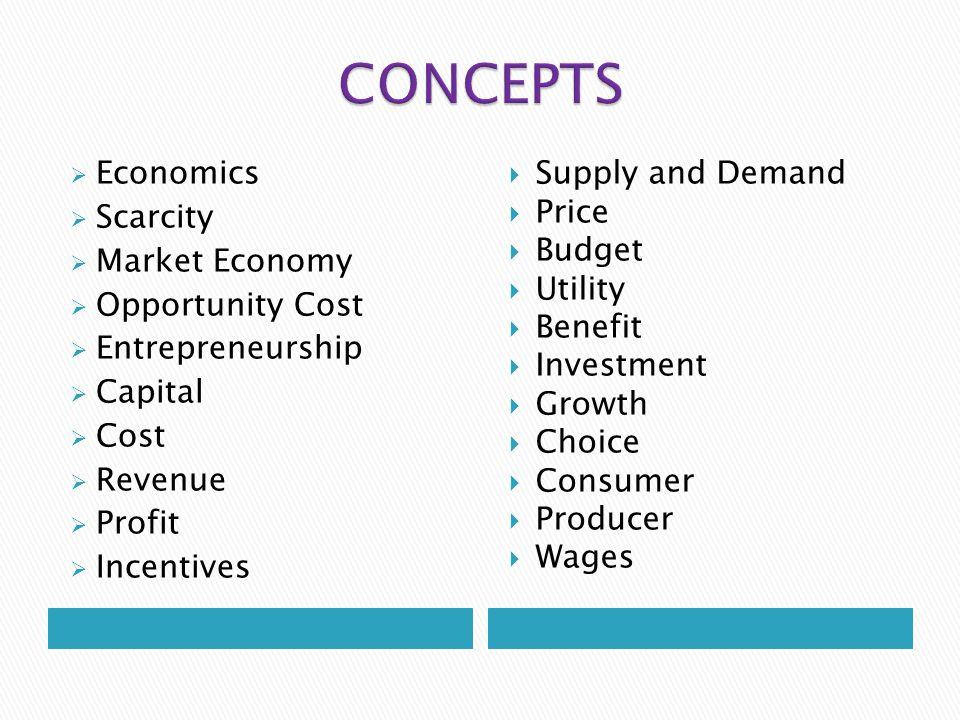 CONCEPTS Economics Scarcity Market Economy Opportunity Cost