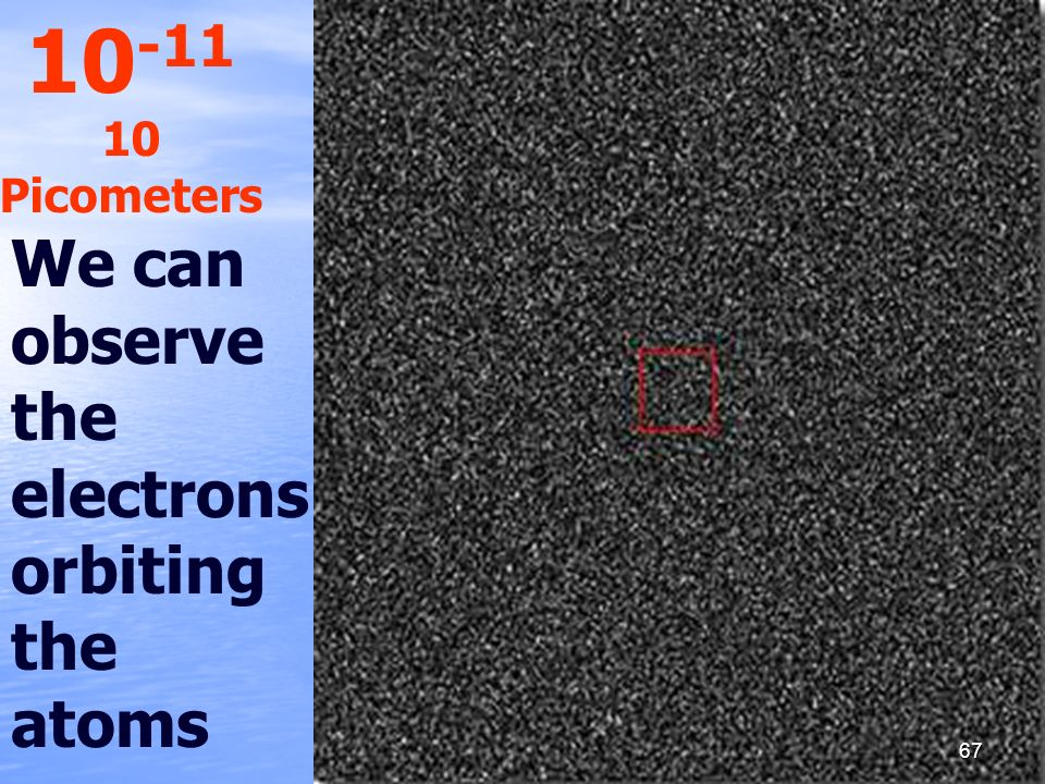 10-11 10 Picometers We can observe the electrons orbiting the atoms