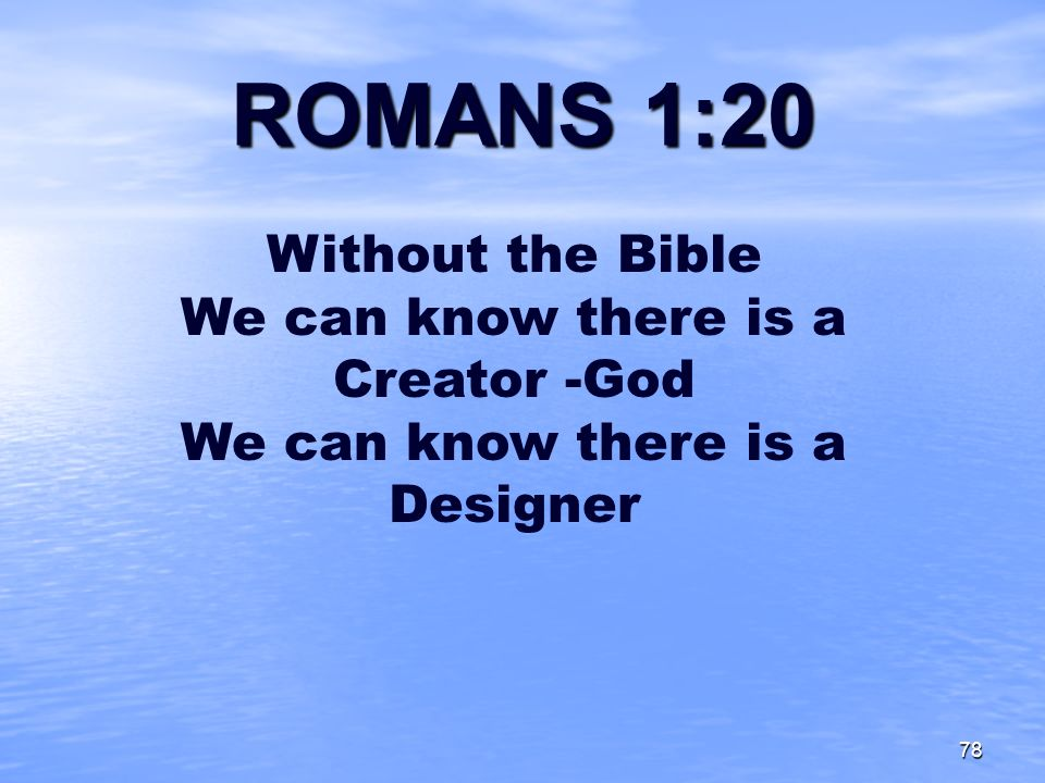 ROMANS 1:20 Without the Bible We can know there is a Creator -God We can know there is a Designer.