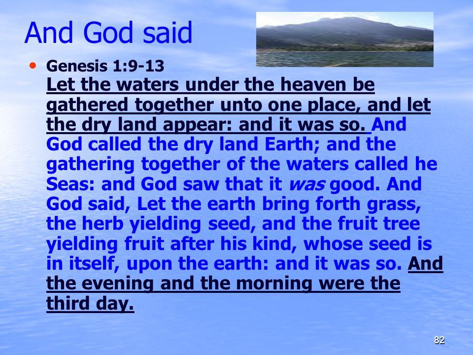 And God said
