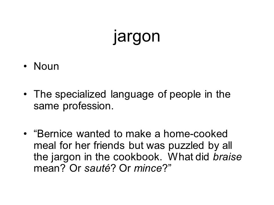 jargon Noun The specialized language of people in the same profession.