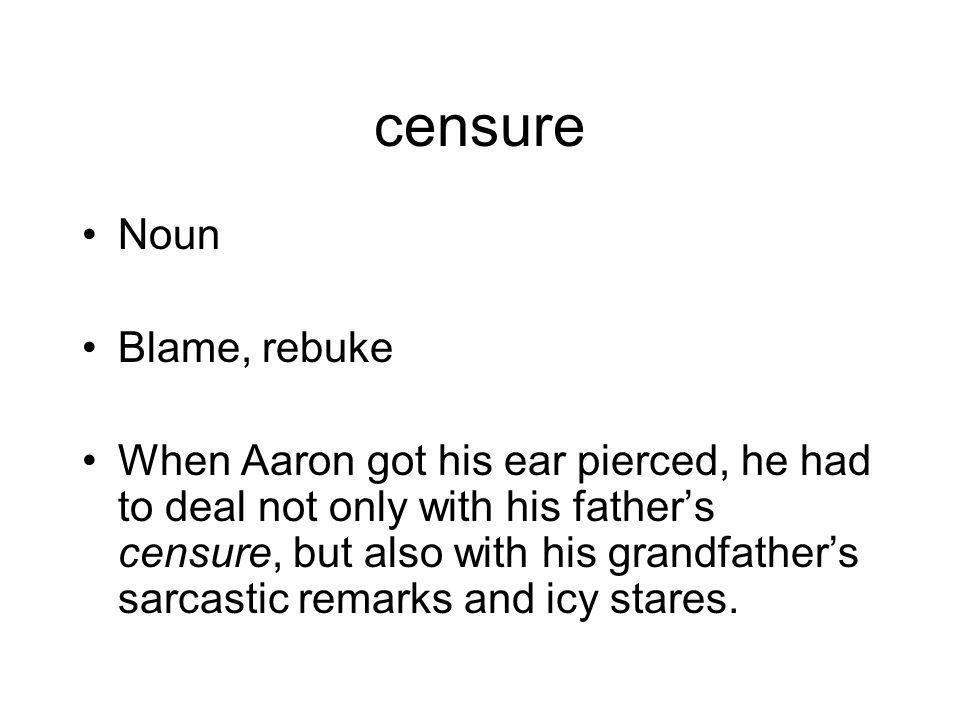 censure Noun Blame, rebuke