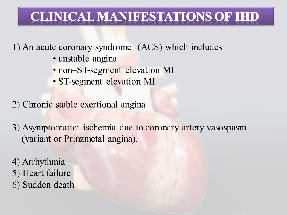 Clinical manifestations of Ihd