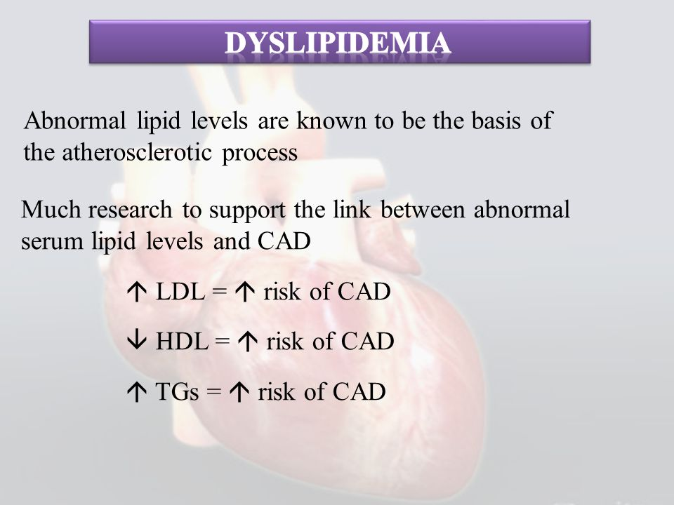 dyslipidemia Abnormal lipid levels are known to be the basis of the atherosclerotic process.