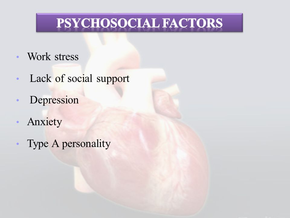 Psychosocial factors Work stress Lack of social support Depression