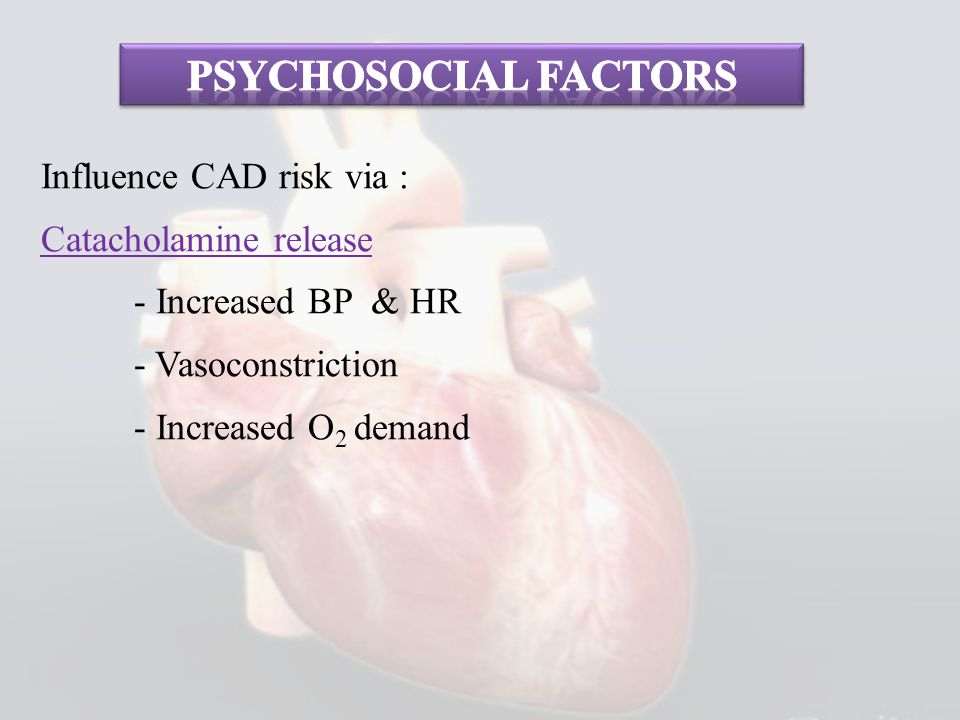 Psychosocial factors Influence CAD risk via : Catacholamine release - Increased BP & HR - Vasoconstriction - Increased O2 demand