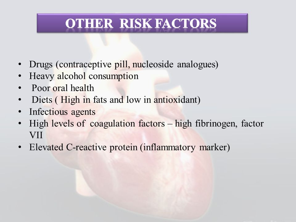 Other risk factors Drugs (contraceptive pill, nucleoside analogues)