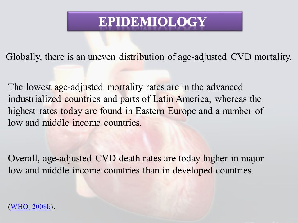 Epidemiology Globally, there is an uneven distribution of age-adjusted CVD mortality.