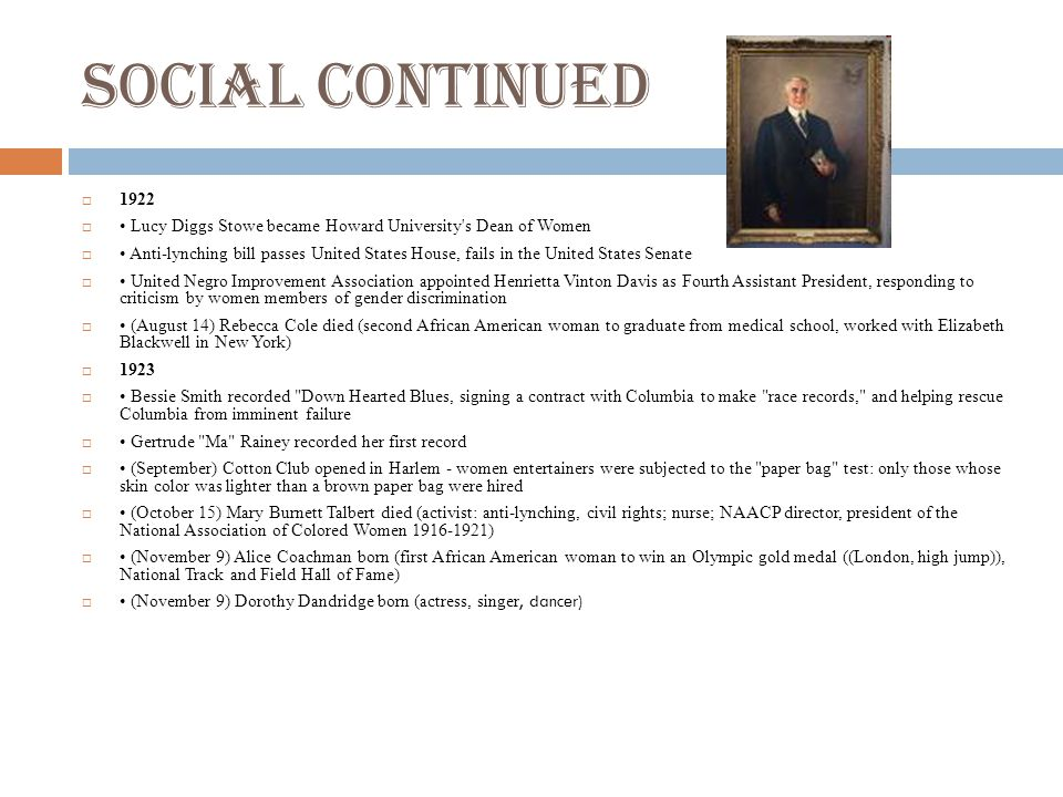 Social continued 1922. • Lucy Diggs Stowe became Howard University s Dean of Women.