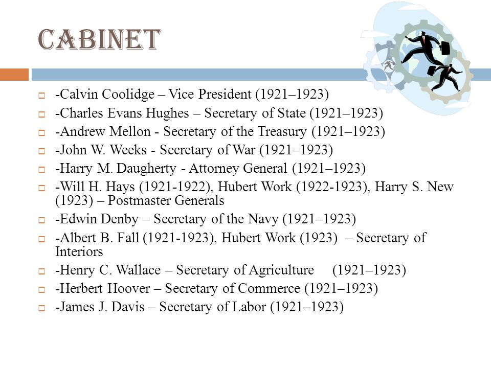 Cabinet -Calvin Coolidge – Vice President (1921–1923)