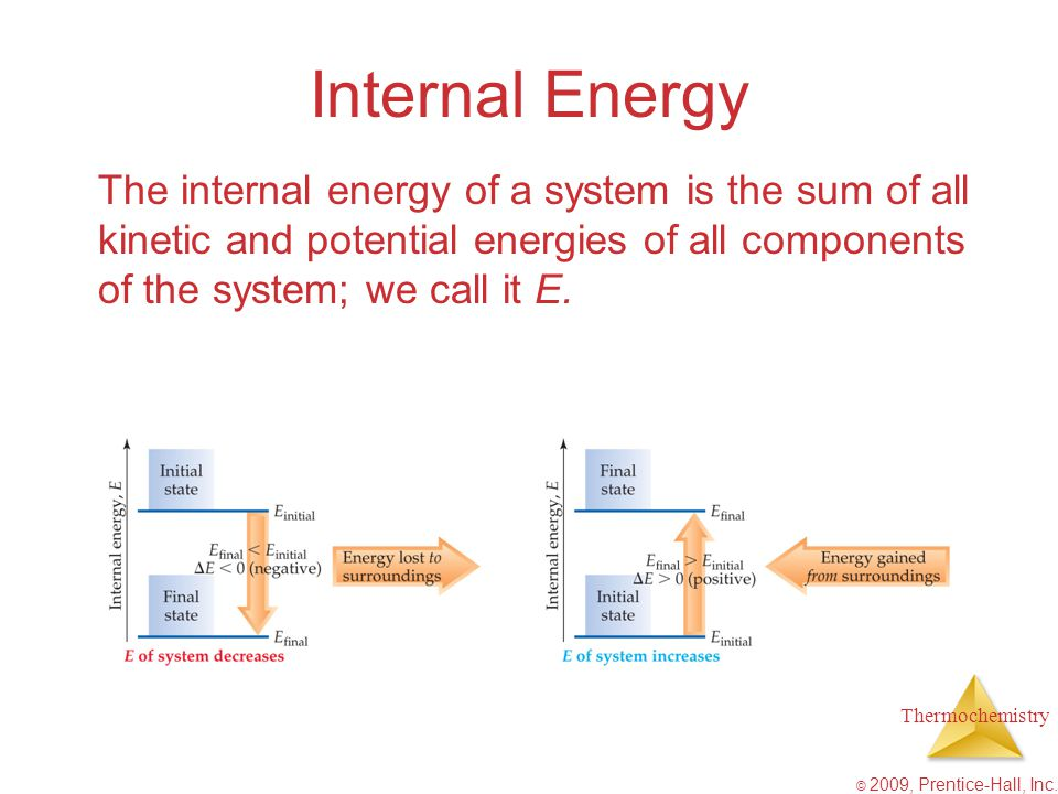 Internal Energy The internal energy of a system is the sum of all kinetic and potential energies of all components of the system; we call it E.