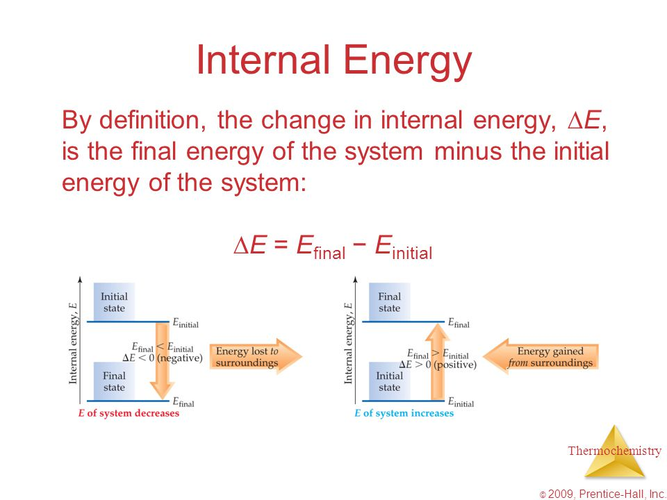 Internal Energy By definition, the change in internal energy, E, is the final energy of the system minus the initial energy of the system: