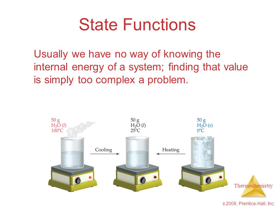 State Functions Usually we have no way of knowing the internal energy of a system; finding that value is simply too complex a problem.