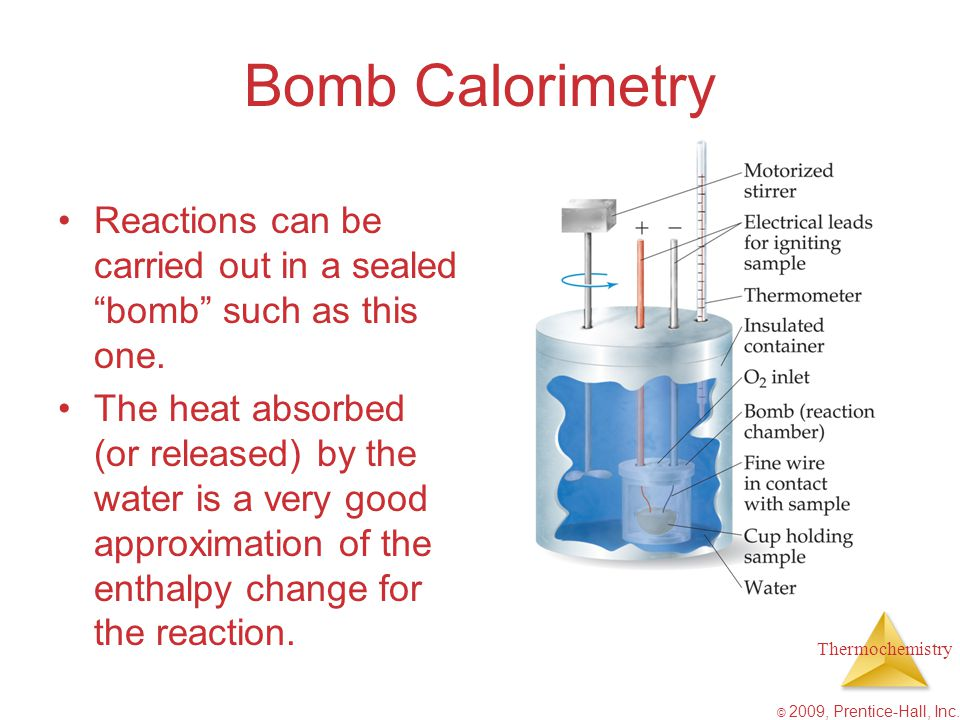 Bomb Calorimetry Reactions can be carried out in a sealed bomb such as this one.