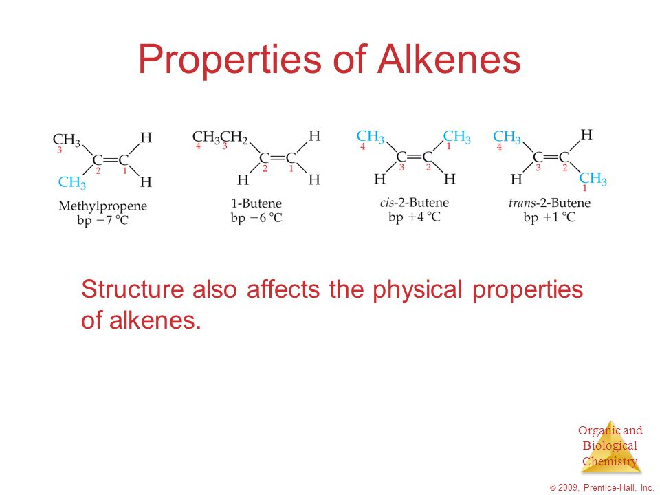Properties of Alkenes Structure also affects the physical properties of alkenes.