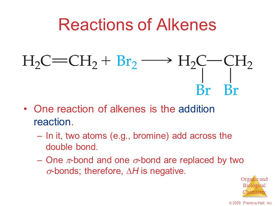 Reactions of Alkenes One reaction of alkenes is the addition reaction.