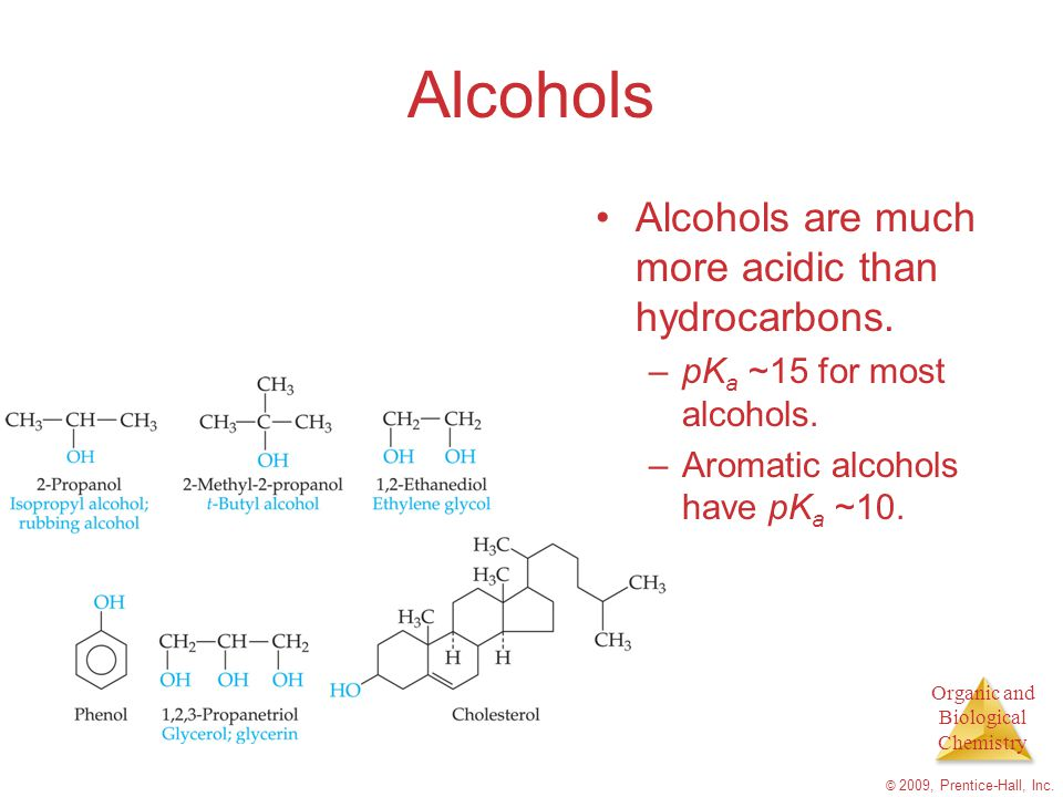 Alcohols Alcohols are much more acidic than hydrocarbons.