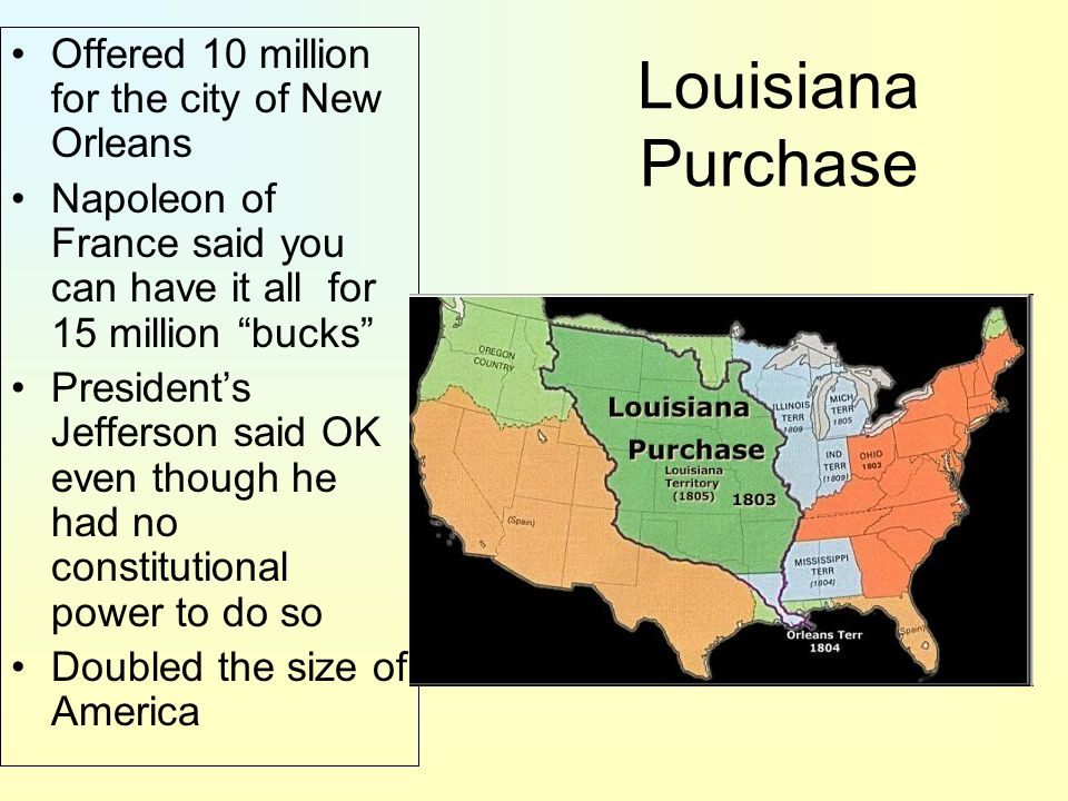 Louisiana Purchase Offered 10 million for the city of New Orleans