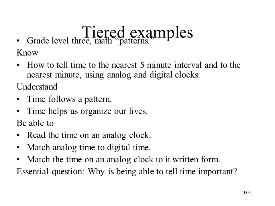 Tiered examples Grade level three, math patterns. Know