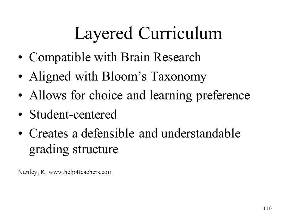 Layered Curriculum Compatible with Brain Research