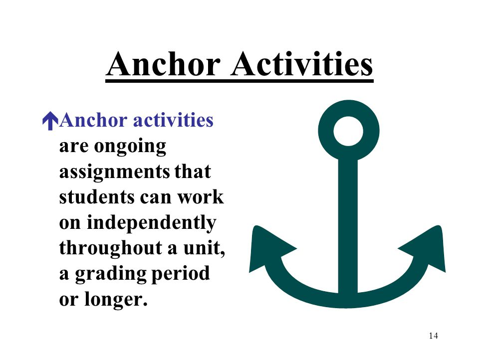 Anchor Activities Anchor activities are ongoing assignments that students can work on independently throughout a unit, a grading period or longer.