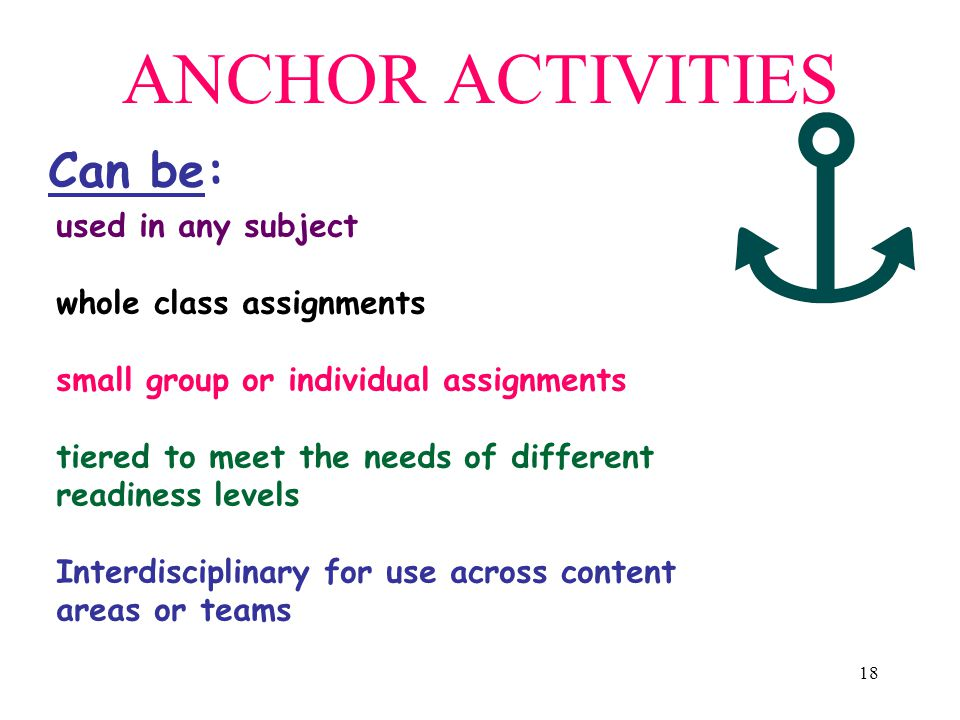 ANCHOR ACTIVITIES Can be: used in any subject whole class assignments