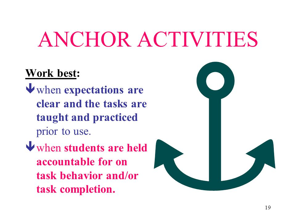 ANCHOR ACTIVITIES Work best: