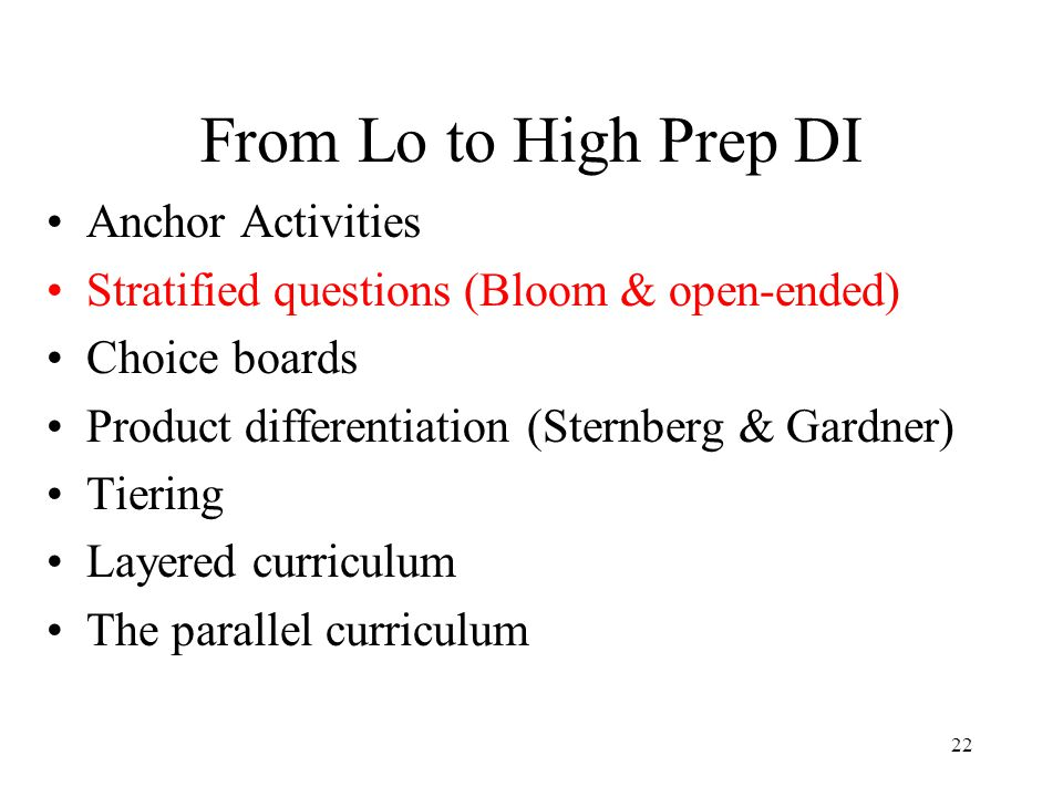 From Lo to High Prep DI Anchor Activities