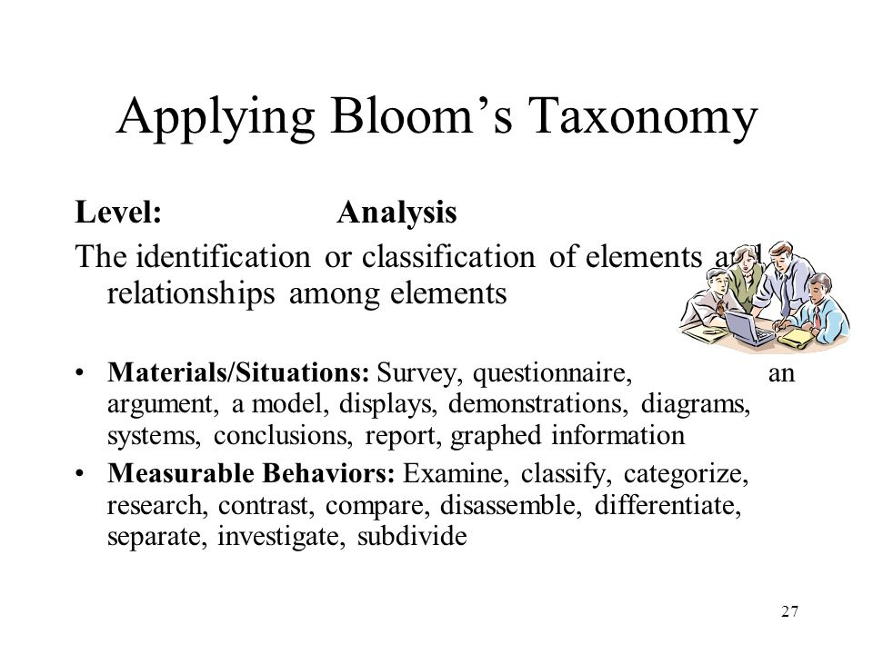 Applying Bloom's Taxonomy