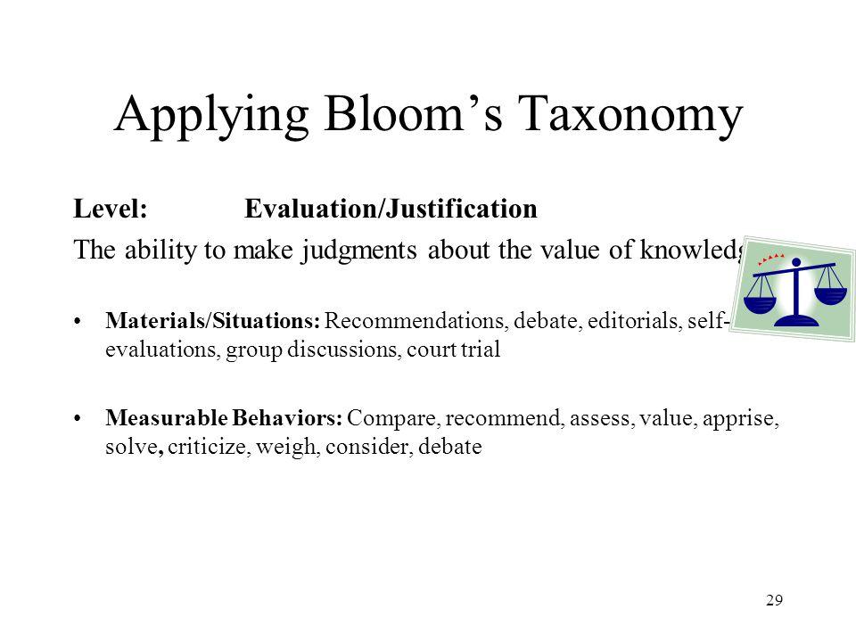 Applying Bloom's Taxonomy